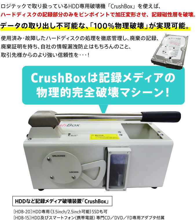 CrushBoxは記録メディアの物理的完全破壊マシーン!