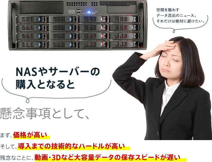 NASやサーバーの購入となると懸念事項として、まず、価格が高いそして、導入までの技術的なハードルが高い残念なことに、動画・3Dなど大容量データの保存スピードが遅い