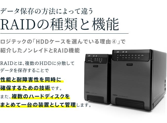 データ保存の方法によって違うロジテックのRAIDの種類と機能を知ろう「HDDケースを選んでいる理由④」で紹介したノンレイドとRAID機能
