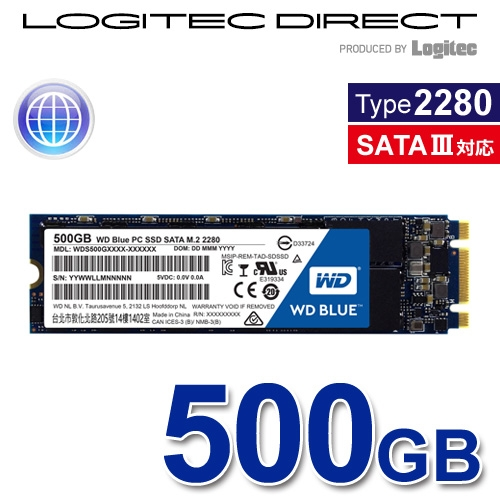 Western Digital M.2 2280SSD WD Blue 500GB バルクSSD【WDS500G1B0B-LOG】